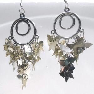 Silver Butterfly Chandelier Earrings New Year gift